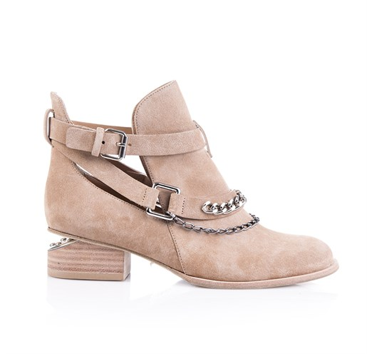 Camel Hakiki Deri Cut-Out Bootie - CARIS